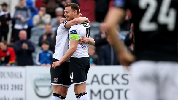 Dundalk's Andy Boyle celebrates scoring against Bray Wanderers at Oriel Park