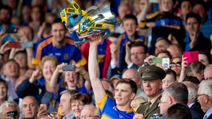 Brendan Maher lifts the cup after Tipp's defeat of Waterford in the Munster final last summer
