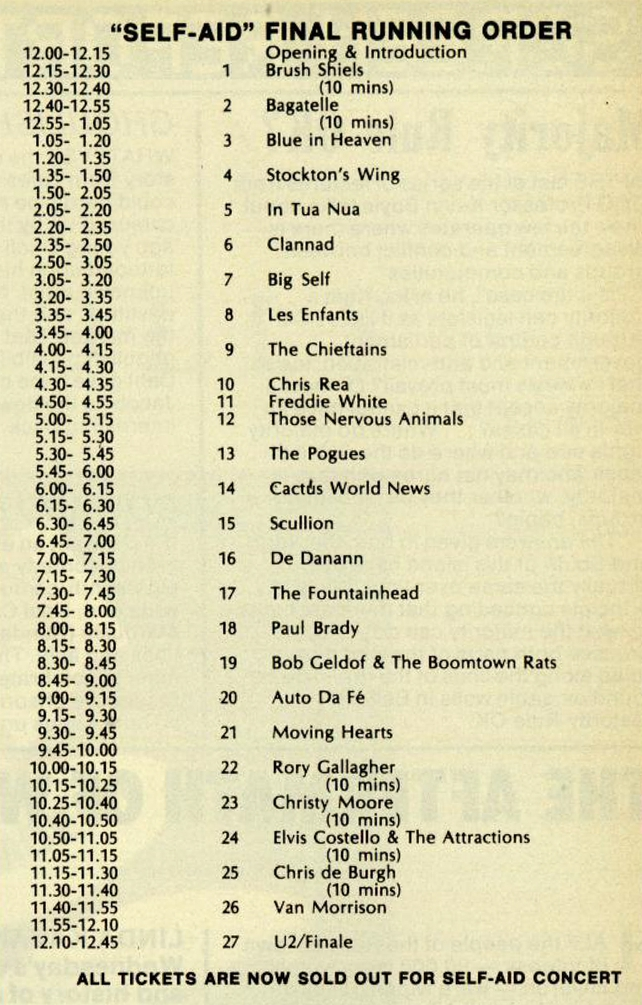 Self Aid Running Order as of RTÉ Guide 16 May 1986