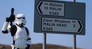 Howya' (bucket) head? A stormtrooper spotted on Malin Head Pic: Niall Carson/PA Wire