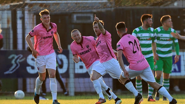 Andy Mulligan of Wexford Youths celebrates scoring the opener against Shamrock Rovers