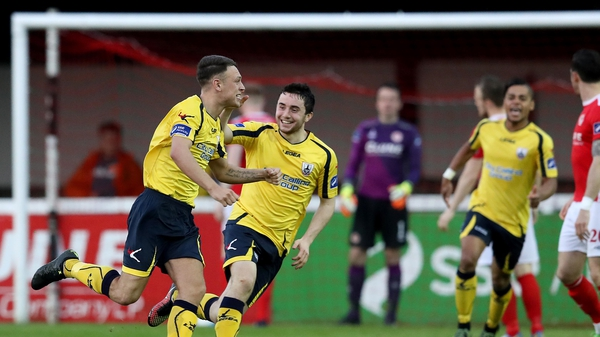 Philip Gannon celebrates his goal for Longford