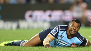 Kurtley Beale was carried off on a stretcher in the opening minute