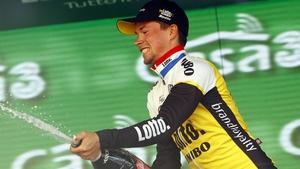 Primoz Roglic celebrates his victory