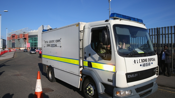 A bomb disposal unit outside Old Trafford after the match between Man United and Bournemouth was postponed