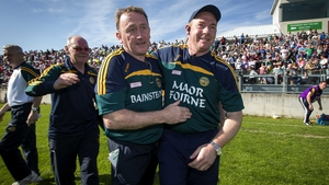 Pat Flanagan celebrates the Leinster SFC victory over Longford
