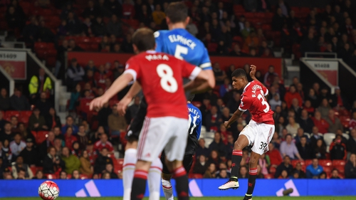 Marcus Rashford scores his eighth goal in 17 appearances for the Red Devils