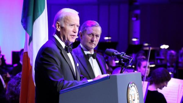 Joe Biden (pictured with Enda Kenny) often speaks of his Irish heritage (Pic: Marty Katz)