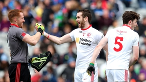 Tyrone goalkeeper Michael O'Neill and Ronan McNamee celebate after the recent Division 2 league final win over Cavan