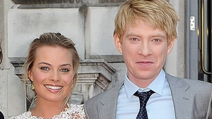 Margot Robbie and Domhnall Gleeson at the world premiere of 2013's About Time