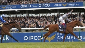 Galileo Gold crosses the line first at Newmarket last month