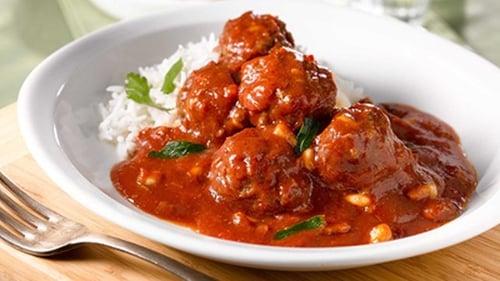 Pork Meatballs, Tomato, Chorizo & White Bean Stew