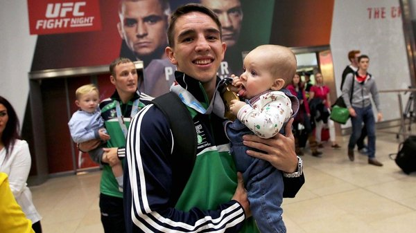 Michael Conlan with his daughter Luisne at the Elite World Championships last year