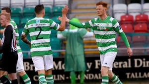 Gary Shaw celebrates his goal for Shamrock Rovers