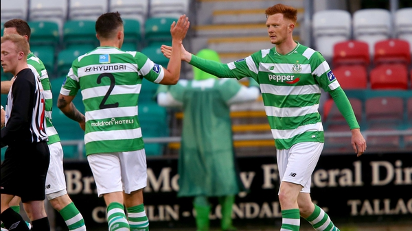 Gary Shaw celebrates his goal for Shamrock Rovers