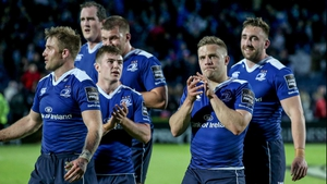 Leinster players acknowledge the RDS faithful after the game