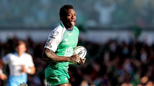 Niyi Adeolokun charges over for Connacht's try on their way to a 16-11 semi-final win over Glasgow