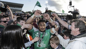 Bundee Aki is surrounded by fans at full-time