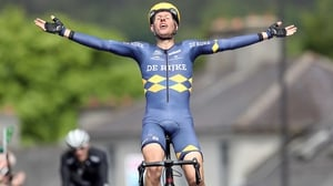 Taco van der Hoom bathes in the glory of his stage win