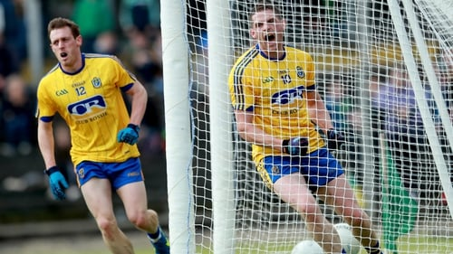 Fintan Cregg (10) celebrates Conor Devanney's goal for Roscommon