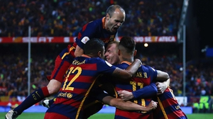 Barcelona players celebrate their Copa del Rey win against Sevilla