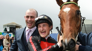 Trainer Adrain Keatley, jockey Shane Foley and Jet Setting after  their Guineas triumph