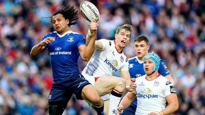 Isa Nacewa jumps for a ball with Ulster's Andrew Trimble during their Pro12 semi-final at the RDS