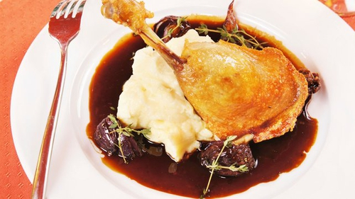 Braised Duck Legs with Pomme Purée