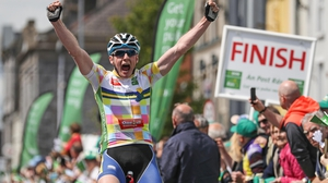 Eoin Morton reacts to winning stage 2 of An Post Rás