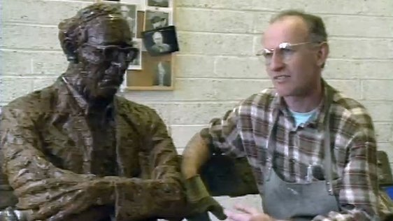Sculptor John Coll and his monument to Patrick Kavanagh (1991)