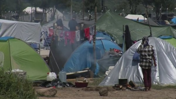 No force was used as officers urged migrants to leave their tents and board buses to take them to shelters