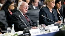 Michael D Higgins is also meeting leaders of the Irish relief agencies Concern, Trócaire and Goal at the summit
