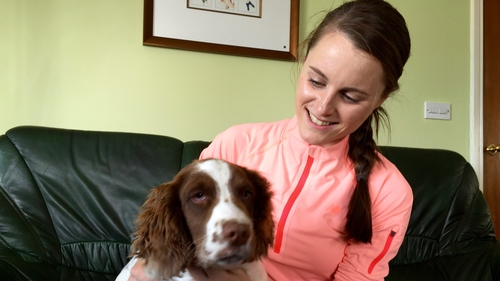 Ciara Mageean at home in Portaferry with her puppy Rio