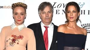 Whit Stillman with Love & Friendship's leading stars Chloe Sevigny and Kate Beckinsale