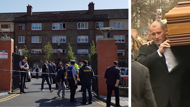 Gareth Hutch, seen here carrying Eddie Hutch's coffin, was killed at the Avondale House flat complex