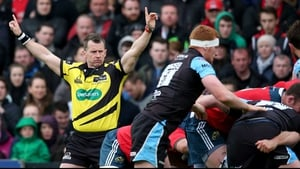 Nigel Owens during last year's final between Munster and Glasgow