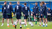 Roy Keane takes a training session at Abbotstown yesterday