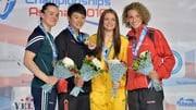 Kellie Harrington (far left) with her silver medal