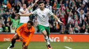 Shane Long celebrates scoring against the Netherlands