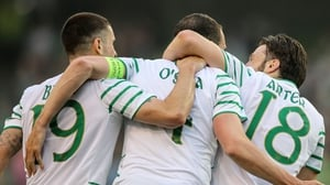 Brady, O'Shea and Arter celebrate Shane Long's goal