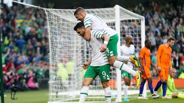 Shane Long celebrates his first-half goal