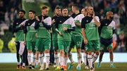 The Ireland players applaud the fans at the Aviva Stadium