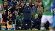 Martin O'Neill surveys his charges at the Aviva Stadium on Friday night