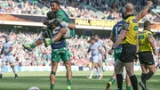 Bundee Aki celebrates the opening try from Tierna O'Halloran