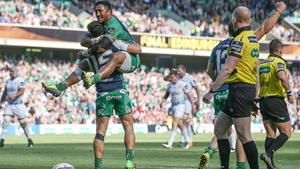 Bundee Aki celebrates the opening try from Tiernan O'Halloran