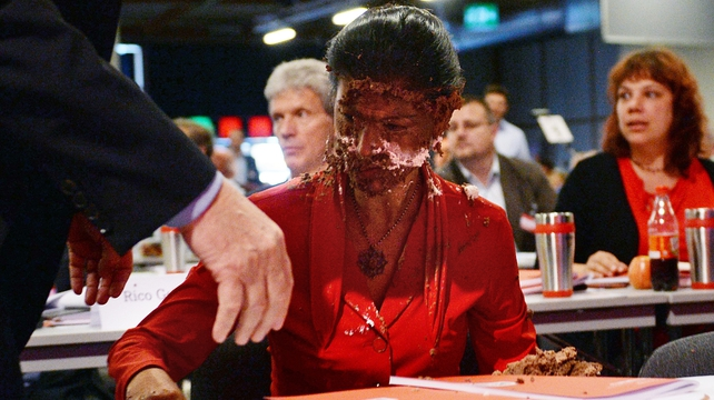 Sahra Wagenknecht is the second German politician to be attacked with a dessert this year over her position on asylum-seekers