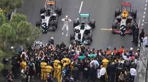 Mercedes AMG Petronas' Lewis Hamilton celebrates at end of the Monaco Grand Prix