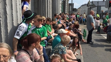 Crowds lined the the streets of Galway this afternoon to see the team