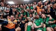 Connacht players celebrate victory in the changing room