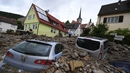 Cars buried in debris in Braunsbach, Germany